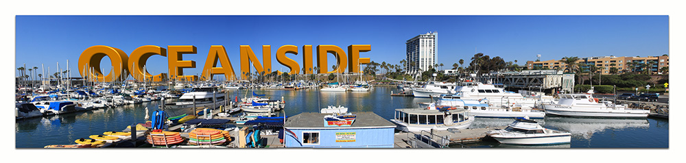 Photoshop art - 3d text over harbor and train painting