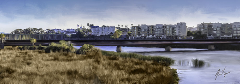 Photoshop painting of train and bridge